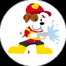 Cute Firefighter Dog Sticker