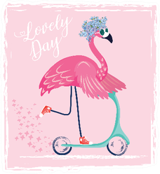 Cute Flamingo On Scooter Lovely Day Sticker