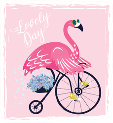 Cute Flamingo With Bicycle Summer Sticker