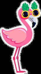 Cute Flamingo With Pineapple Sunglasses Sticker