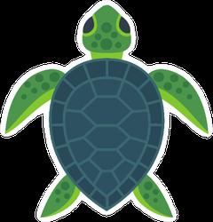 Cute Flat Sea Turtle Illustration Sticker
