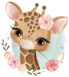 Cute Flowery Giraffe Illustration Sticker