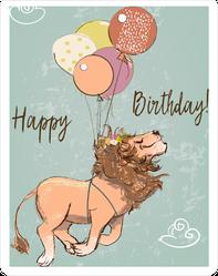 Cute Flying Happy Birthday Lion Sticker