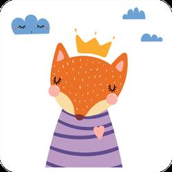 Cute Fox Cartoon in Purple Shirt Sticker