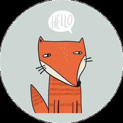 Cute Fox Saying Hello Cartoon Sticker