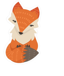 Cute Fox With Tail Wrapped Around Its Body Sticker