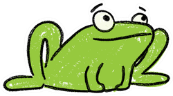 Cute Frog Kids Drawing Sticker