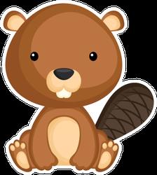Cute Funny Sitting Baby Beaver Sticker
