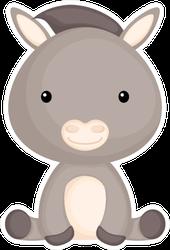Cute Funny Sitting Baby Donkey Cartoon Sticker