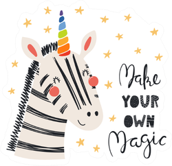 Cute Funny Zebra With A Unicorn Horn Make your Own Magic Sticker