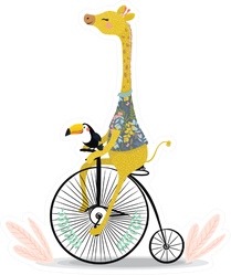 Cute Giraffe And Toucan On Bicycle Illustration Sticker