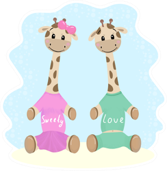 Cute Giraffe Babies Illustration Sticker