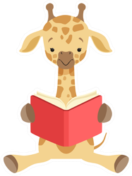 Cute Giraffe Sitting On The Floor And Reading Book Sticker