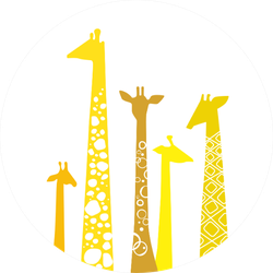 Cute Giraffes In Yellow Illustration Sticker