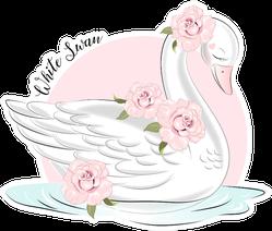 "Cute Girl White Swan And Roses ""Little Swan"" Sticker"