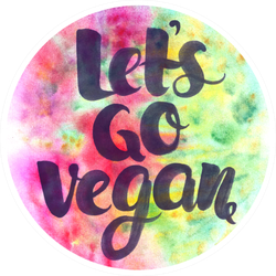 Cute Go Vegan Watercolor Sticker