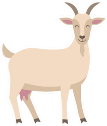 Cute Goat Illustration Isolated On White Sticker