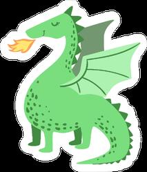 Cute Green Dragon Breathing Fire Sticker