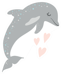 Cute Grey Dolphin Heart Art Sticker