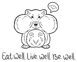 Cute Hamster Eat Well Live Well Be Well Sticker