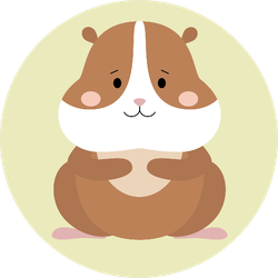 Cute Hamster On Green Background Sticker