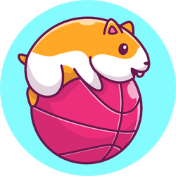 Cute Hamster Playing Ball On Blue Sticker