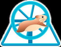 Cute Hamster Running In Rolling Wheel Sticker