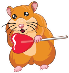 Cute Hamster With Heart Lollipop Sticker
