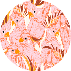 Cute Hand Drawing Doodle Pink Cockatoo Pattern Sticker