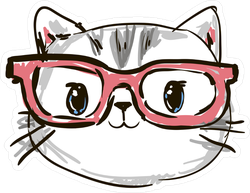 Cute Hand Drawn Cat With Glasses Sticker