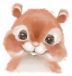 Cute Hand Drawn Hamster, Woodland Watercolor Sticker