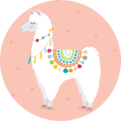 Cute Hand Drawn Llama In Pink Sticker