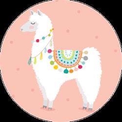 Cute Hand Drawn Llama In Pink Sticker