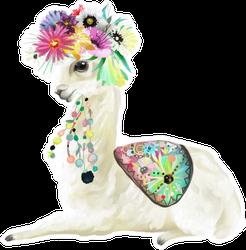 Cute Hand Painted Mexican Llama Sticker