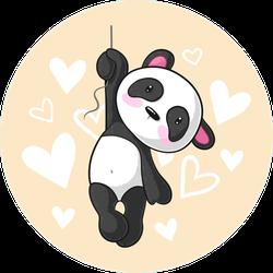 Cute Hanging Cartoon Panda Sticker