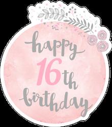 Cute Happy 16th Birthday Sticker