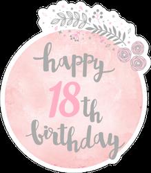 Cute Happy 18th Birthday Sticker