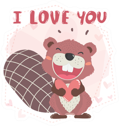 Cute Happy Brown Autumn Beaver I Love You Sticker