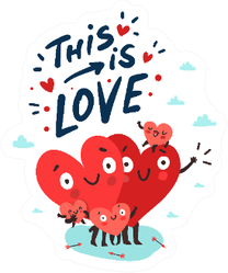 Cute Heart Family This Is Love Illustration Sticker