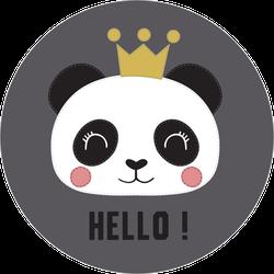 Cute Hello Panda In Crown Sticker
