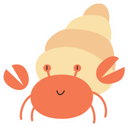 Cute Hermit Crab Cartoon Sticker