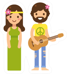 Cute Hippie Couple Cartoon Sticker