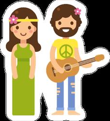 Cute Hippie Couple Cartoon Sticker