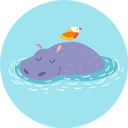 Cute Hippo And Bird On The Water Background Sticker