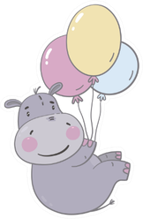 Cute Hippo Baby With Balloons Sticker