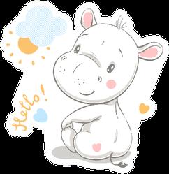 Cute Hippo Cartoon Hello! Sticker