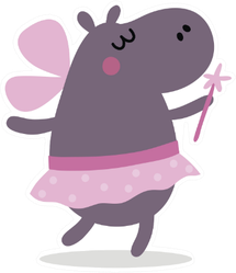 Cute Hippo In Fairy Costume Sticker