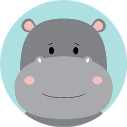 Cute Hippo On Blue Backgrounds Sticker