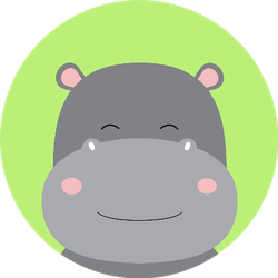 Cute Hippo On Green Backgrounds Sticker