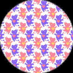 Cute Hippo Pattern Purple And Orange Sticker